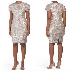 Adriana Papell Sequin puff sleeve Cocktail dress